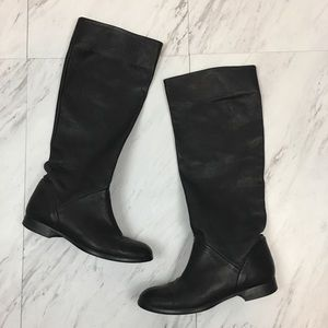 J Crew Sutton Tall Leather Flat Boots